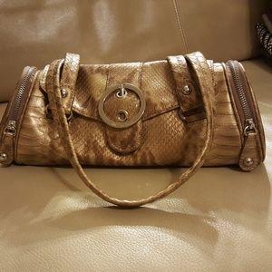 Shoulder Bag Brown/ Gold Hardware Leather Satchel